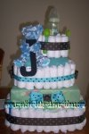 turquoise and brown monogram diaper cake