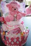 pink princess teddy bear diaper cake