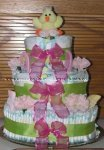 green and purple duck diaper cake