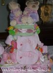 twin bears diaper cake