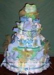 happy green frog diaper cake