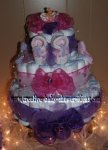purple and pink princess butterfly diaper cake