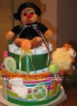 green stripes and monkeys diaper cake