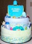 blue my dad rocks bib diaper cake