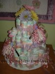 purple and pink flower diaper cake