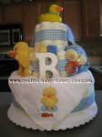 blue and white plaid duck diaper cake
