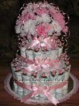 elegant pink and white carnations diaper cake