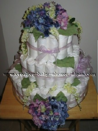 elegant blue and purple hydranga flowers diaper cake