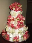 elegant pink and cream flowers diaper cake