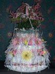 3 tier pink and yellow flower diaper cake