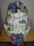 purple hydranga diaper cake