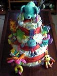 bright toy animals nappy cake