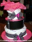 mod pink and black polka dot diaper cake