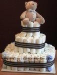 brown bear stripes diaper cake