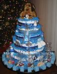 blue dog diaper cake