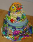 colorful bug diaper cake centerpiece