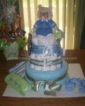 candy bouquet and bear diaper cake