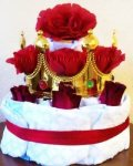 princess crown diaper cake with red roses