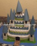 blue and green castle diaper cakee