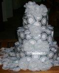 silver and white retro dots diaper cake