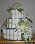 elegant gold flowers diaper cake