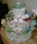 frog and baby bottles diaper cake