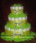 lime green polka dot diaper cake