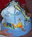 boy blue blanket diaper cake