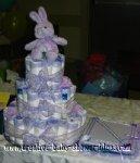 lavender bunny diaper cake