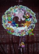 pink animal diaper wreath