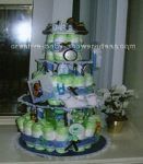 lime and chocolate brown baby diaper cake