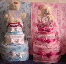 blue and blue teddy bears diaper cake