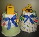 twin construction trucks diaper cake