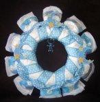 blue polka dot moon and stars diaper wreath