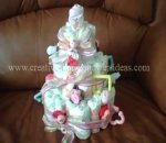sock roses diaper baby cake