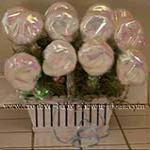 washcloth lollipops wrapped in irredescent paper and placed in basket as favors