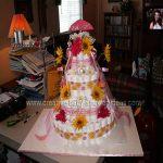 baby girl daisies diaper cake