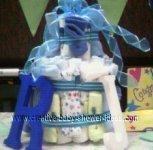 boy monogram R diaper cake