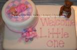 white teddy bear baby shower cake that says welcome little one