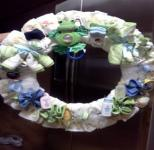 green frog diaper wreath