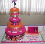 mod pink and orange polka dot diaper cake