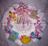 pink and white diaper wreath