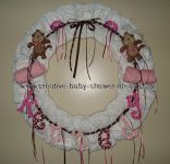 white and pink monkey diaper wreath