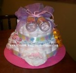2 tier pink and purple diaper cake