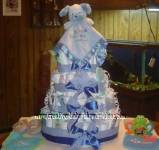 blue teddy bear lovey diaper cake