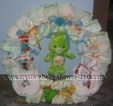 green carebear diaper wreath