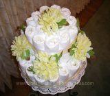 yellow elegant flowers diaper cake