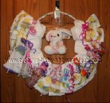 pink and white bunny diaper wreath