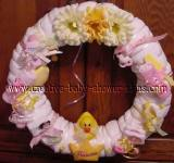pink and yellow ducks diaper wreath