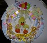 duck diaper wreath with party in my crib sign